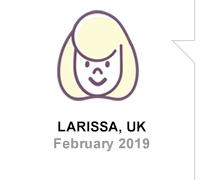 Larissa, UK, February 2019